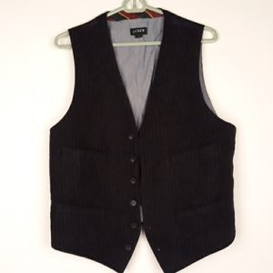 J CREW Black Striped Wool Mens Sz M Vest Waistcoat